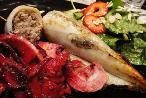 Sausage-stuffed grilled squid fresh from Horseshoe Shoal
